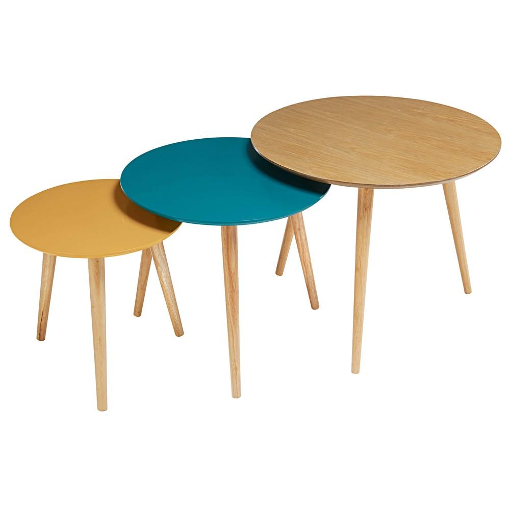 Tables gigognes vintage tricolores