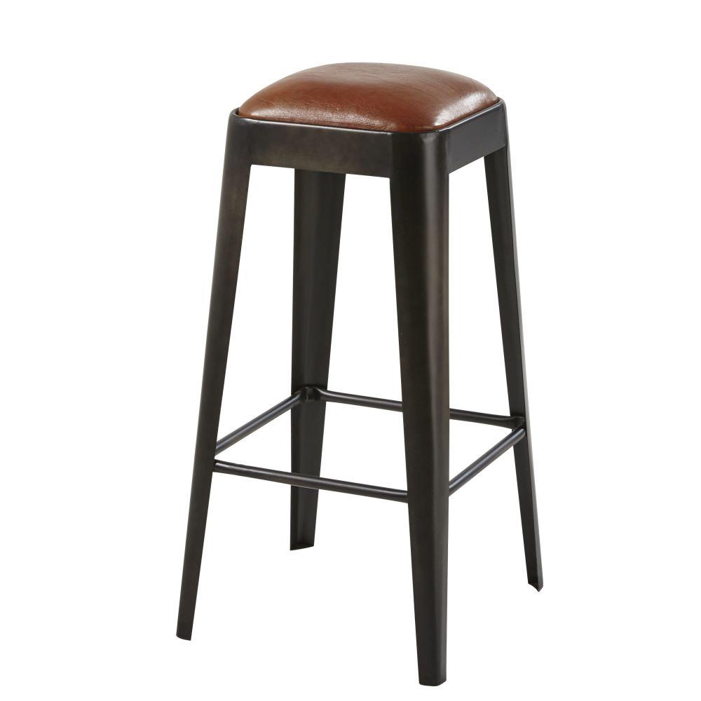 Tabouret de bar en cuir marron et métal noir