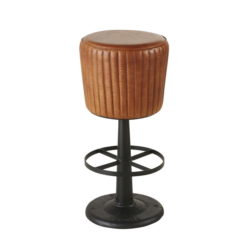Tabouret de bar matelassé en cuir de buffle marron et métal noir