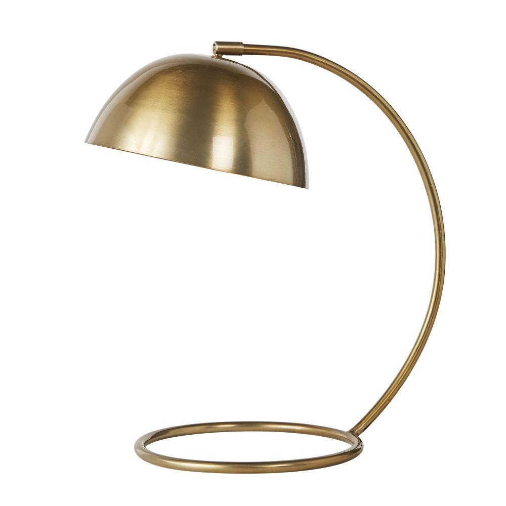 Tafellamp Uit Geborsteld Verguld Metaal H46