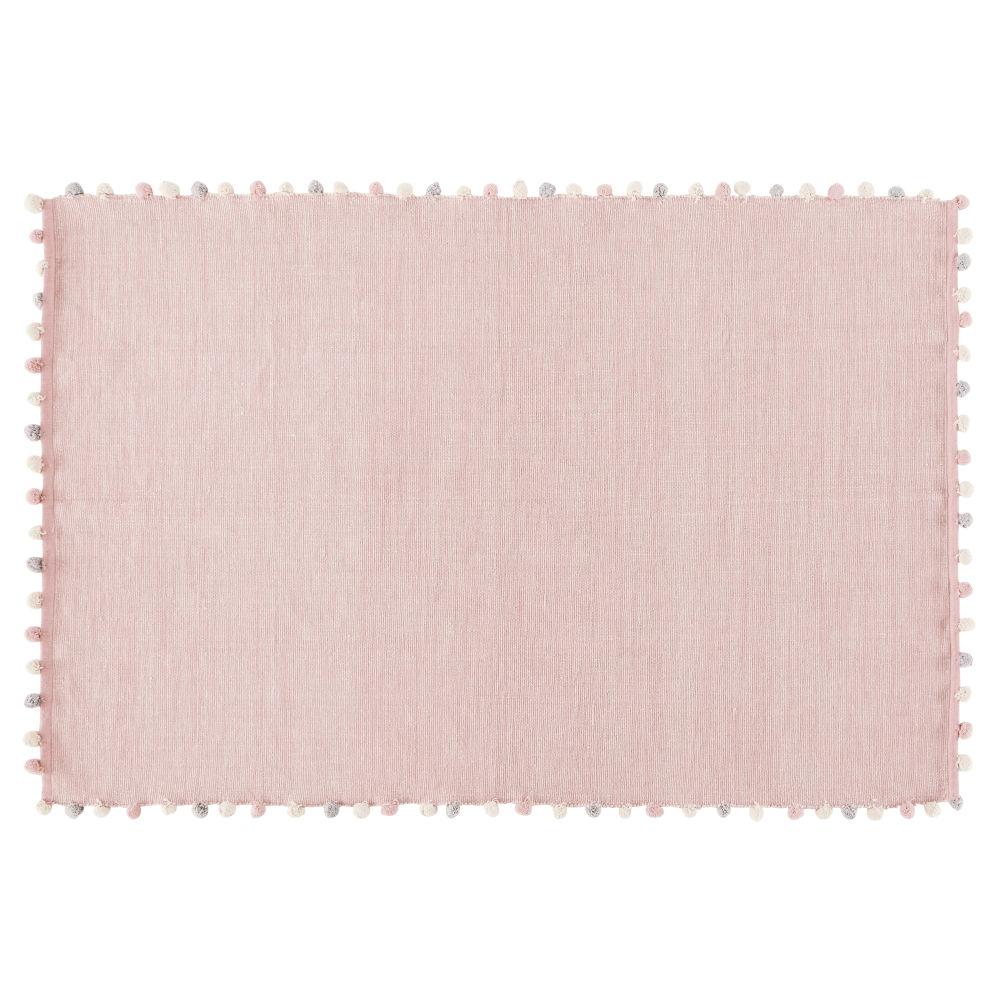 Tapis à pompons en coton rose 120x180