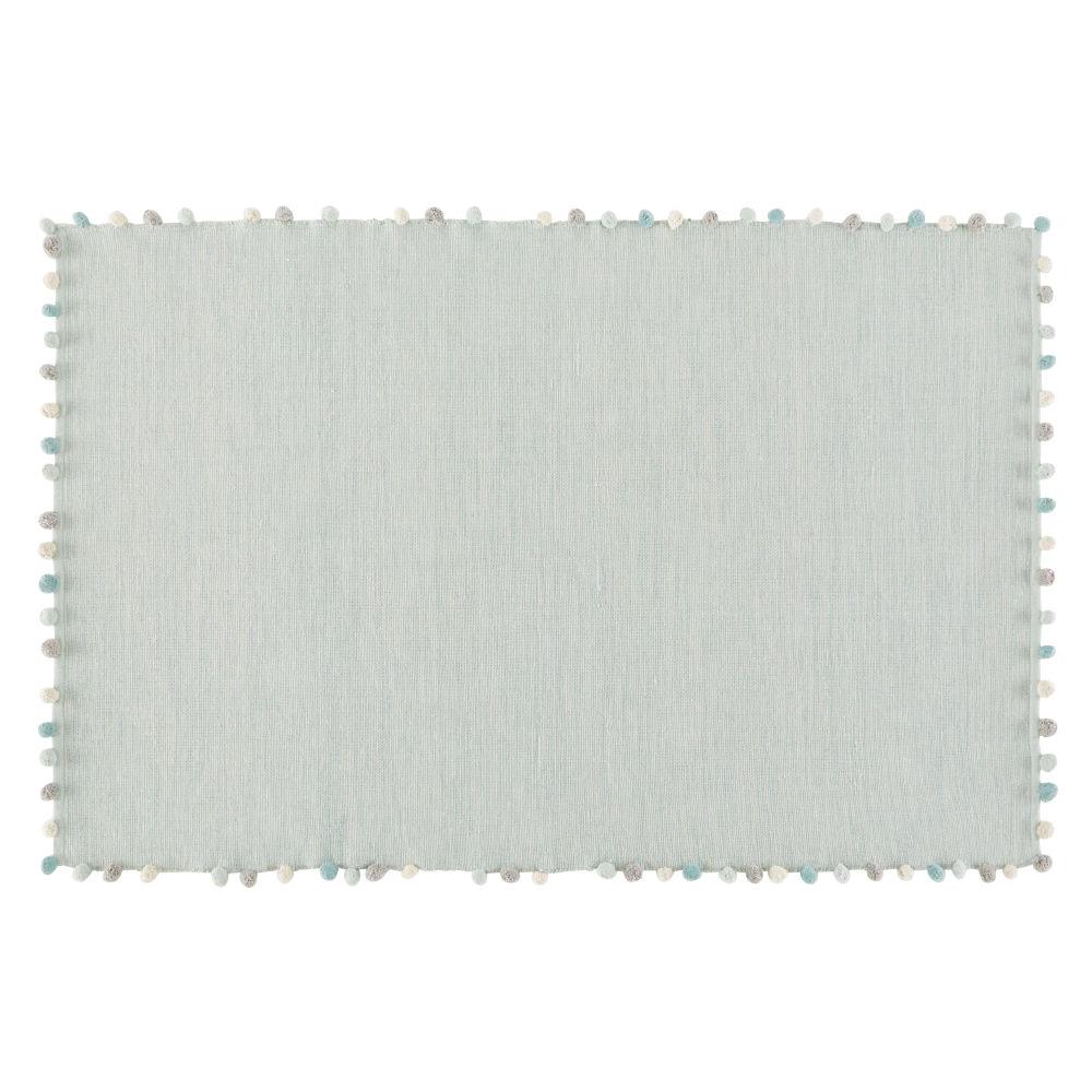 Tapis à pompons en coton vert 120x180