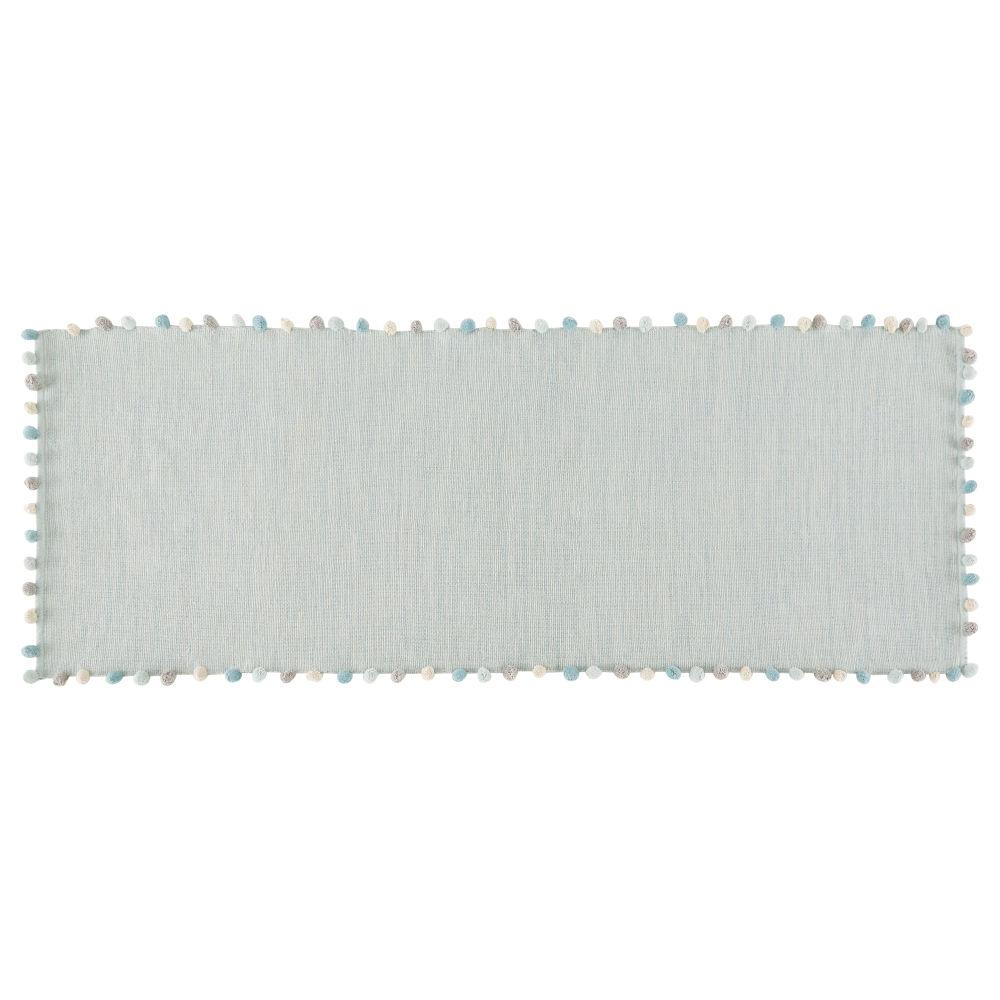 Tapis à pompons en coton vert 80x200