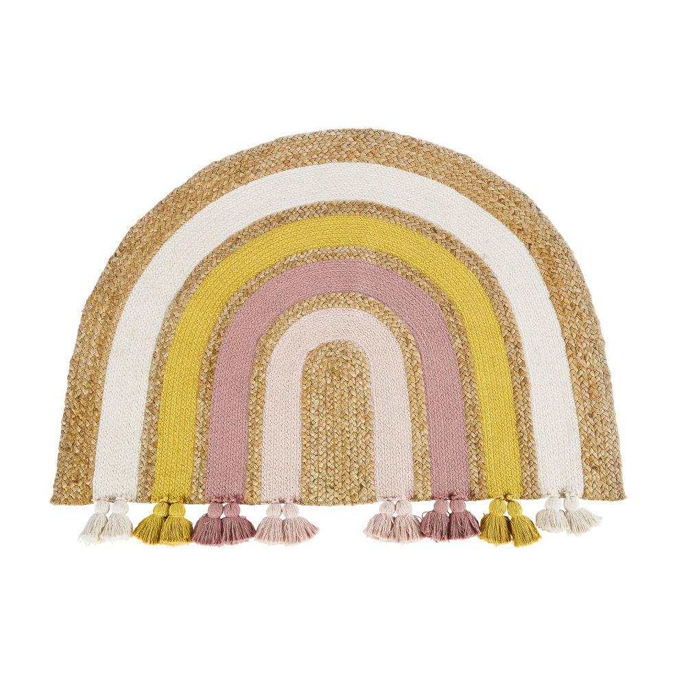 Tapis arc-en-ciel en coton et jute teins multicolores 100x75