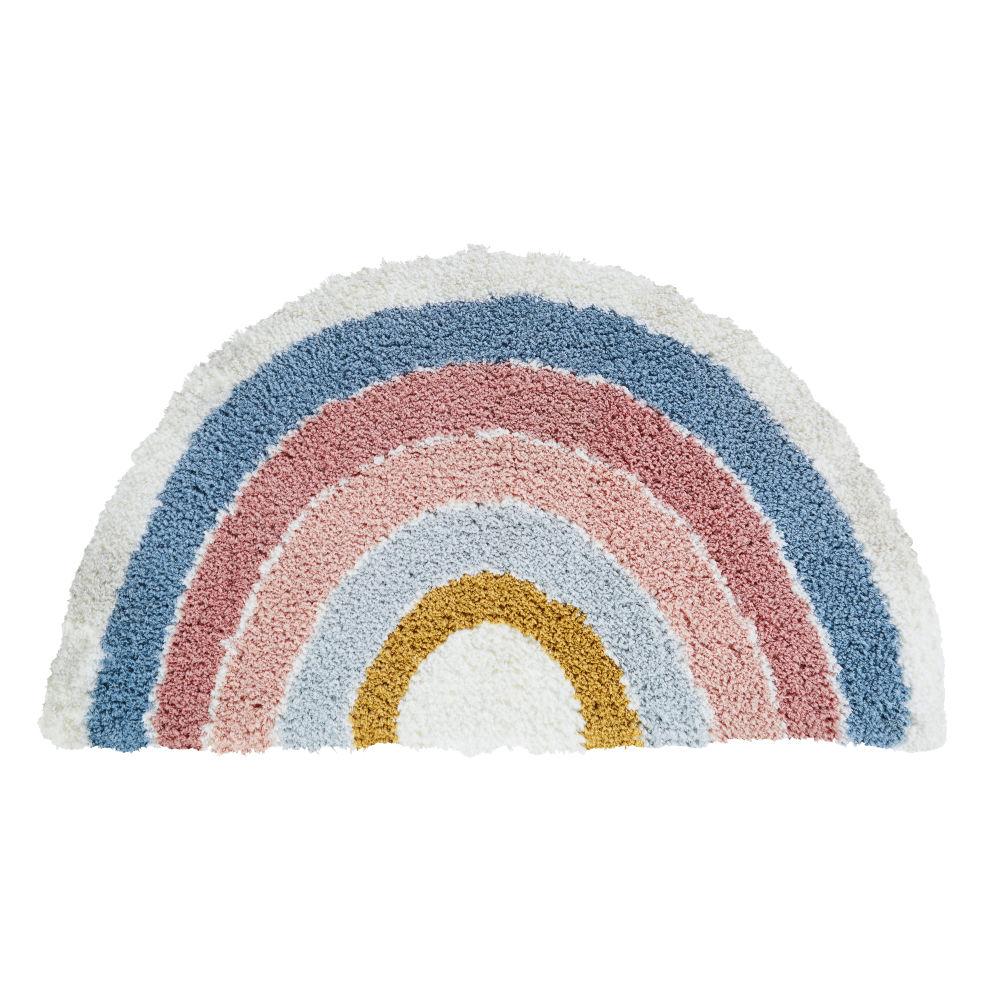 Tapis arc-en-ciel tufté rose, bleu, écru et jaune 88x52