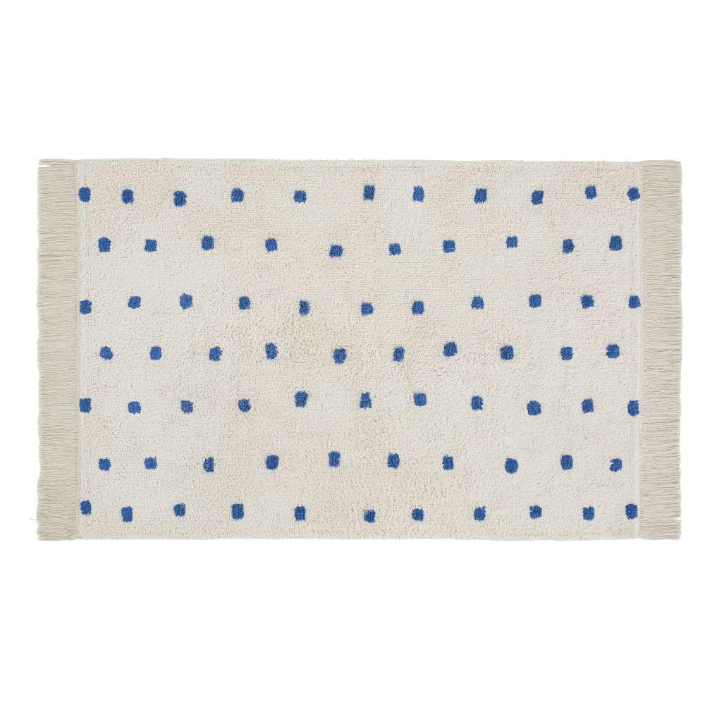 Tapis berbère en coton écru motifs à pois bleus 100x150