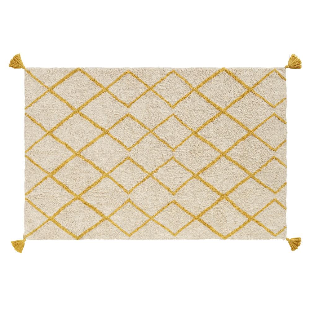 Tapis berbère en coton écru motifs graphiques jaune moutarde 120x180