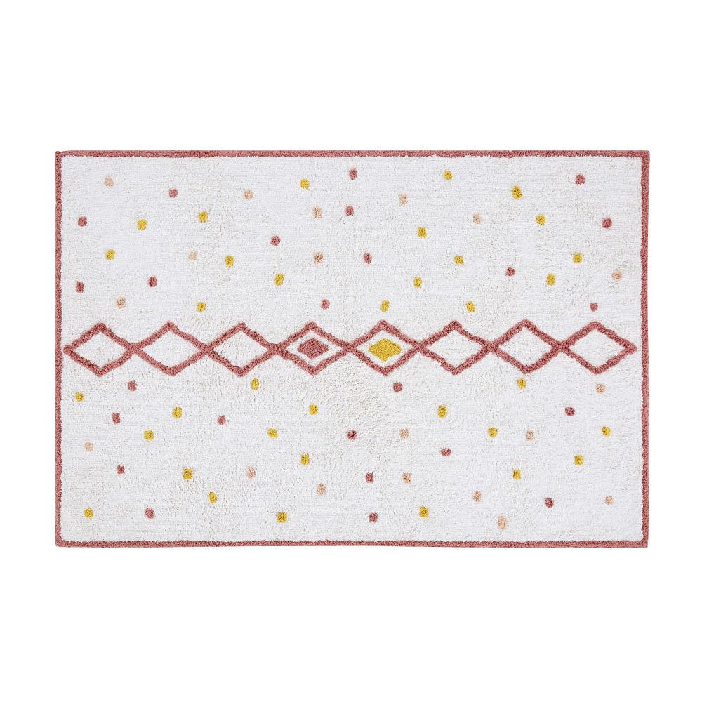 Tapis berbère en coton écru, rose et jaune moutarde à motifs 120x180