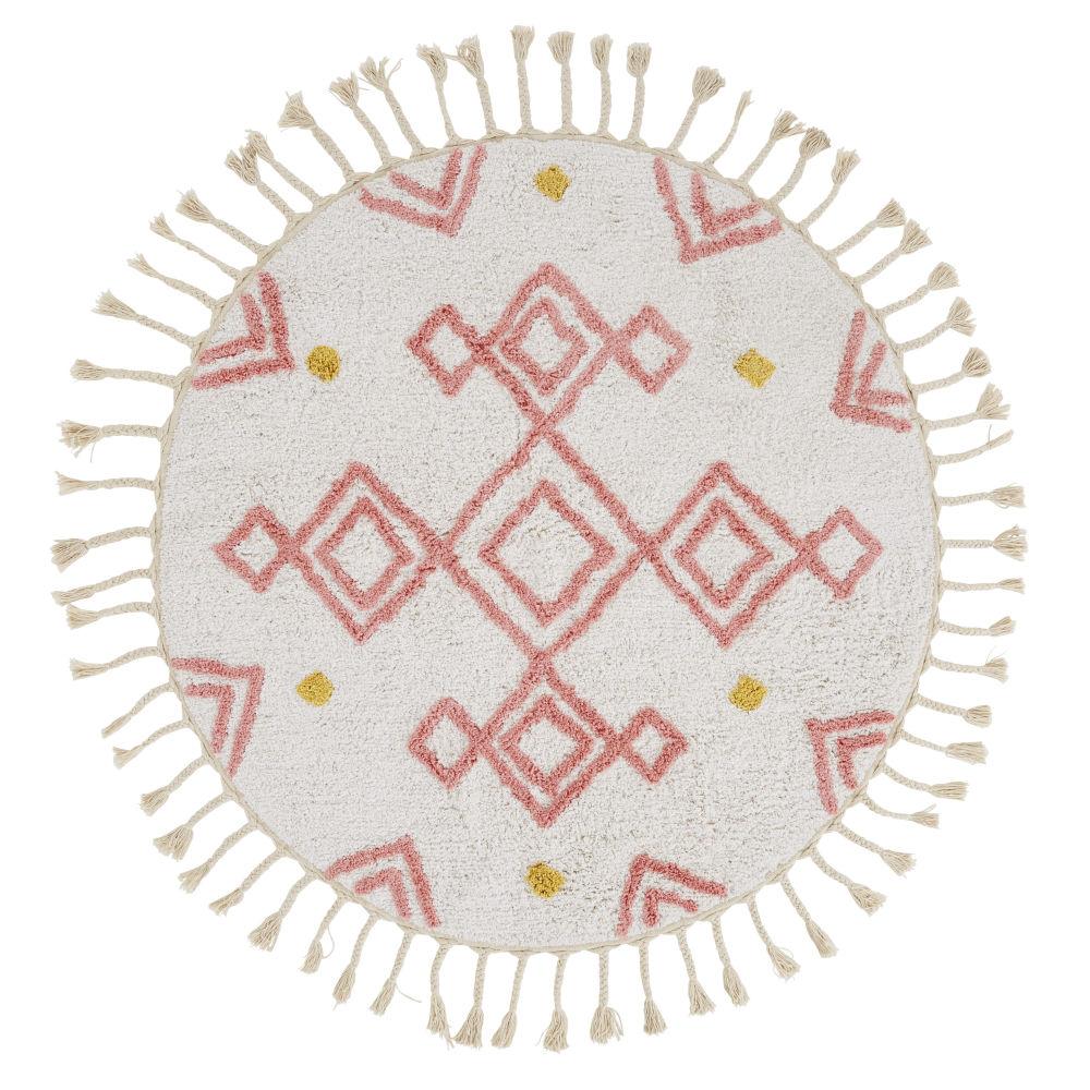Tapis berbère rond en coton écru, rose et jaune moutarde à motifs D120
