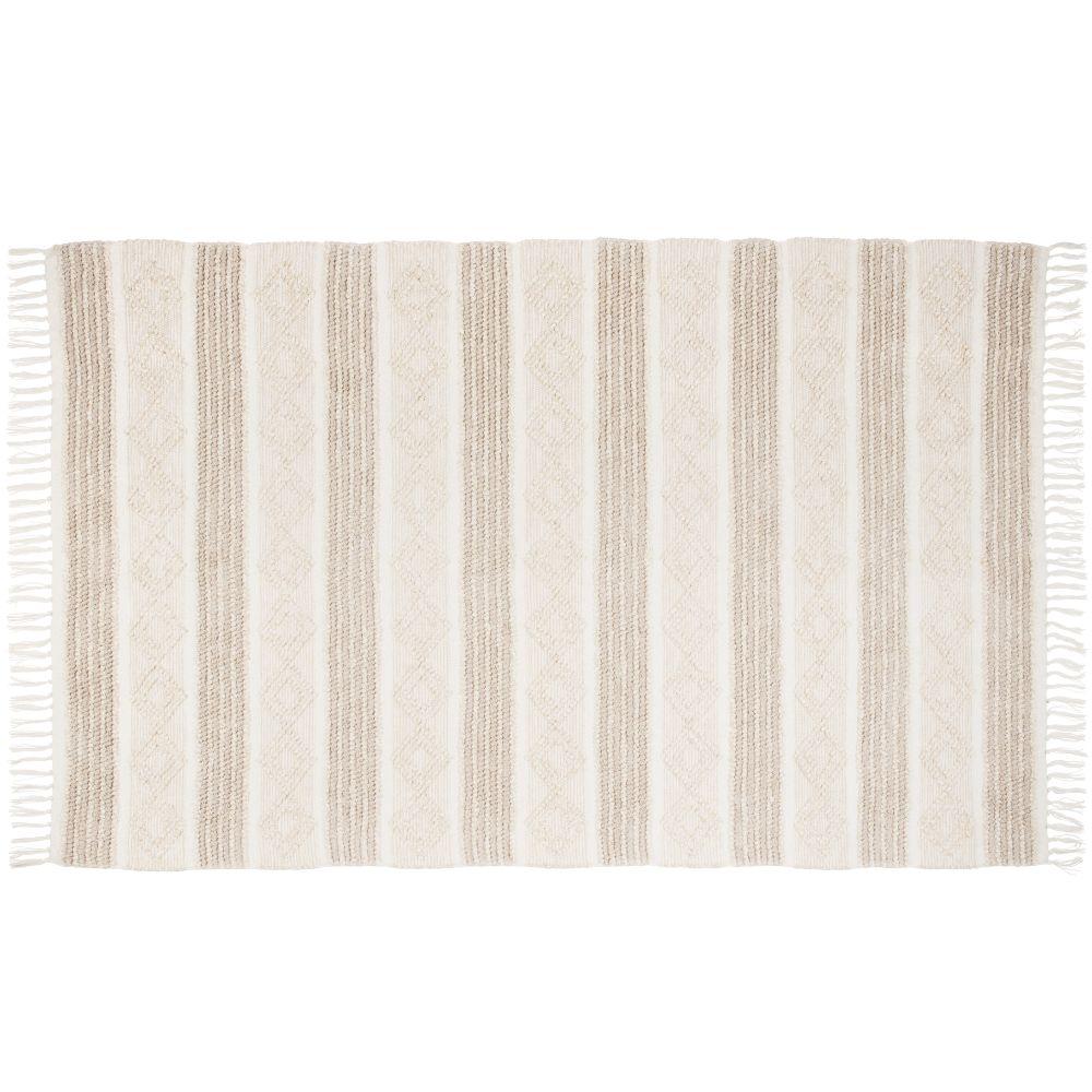Tapis blanc et doré à franges 140x200