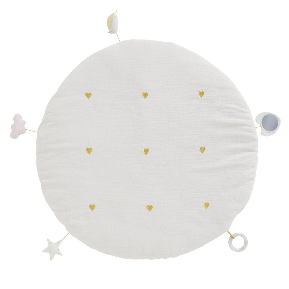 Tapis d'éveil bébé rond avec jouets en coton rose et doré D90