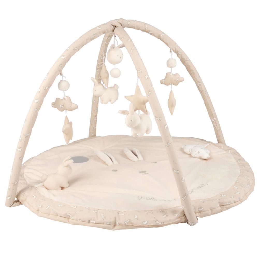 Tapis d'éveil bébé rond écru, blanc et taupe D90