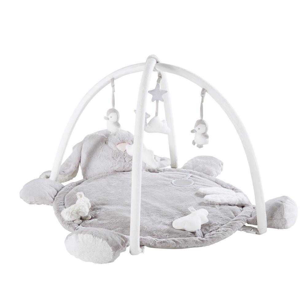 Tapis d'éveil bébé rond lapin gris D90