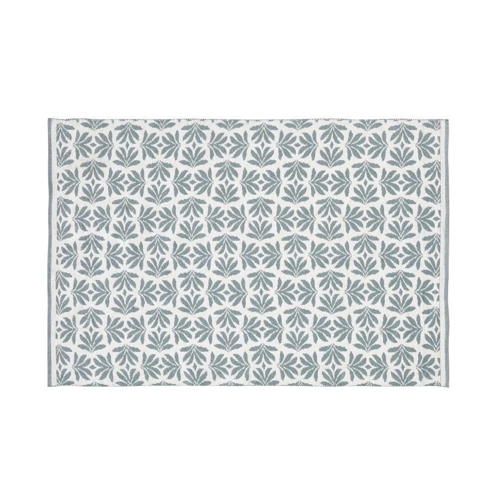 Tapis d'extérieur beige imprimé feuillages verts 140x200