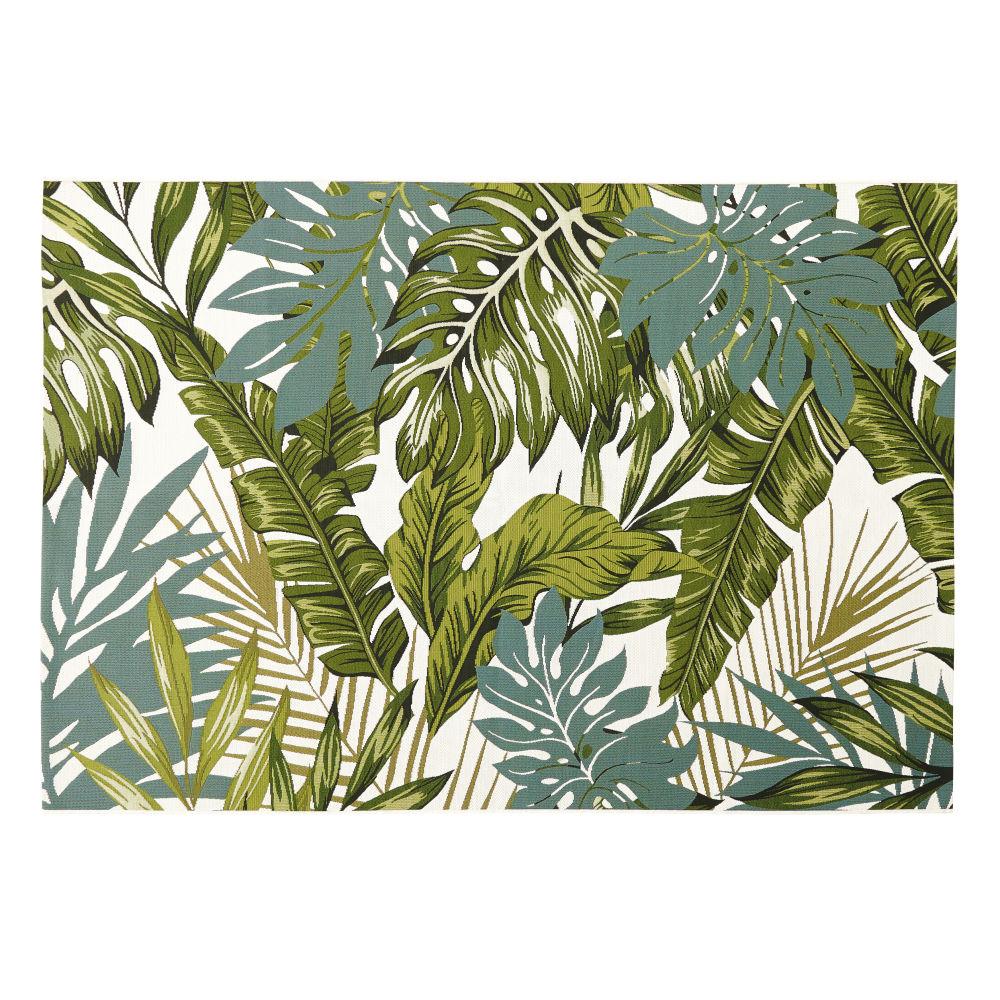 Tapis d'extérieur blanc imprimé feuillages verts 140x200