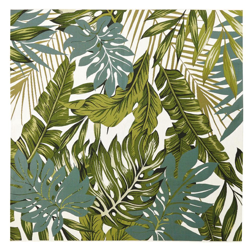 Tapis d'extérieur blanc imprimé feuillages verts 200x200