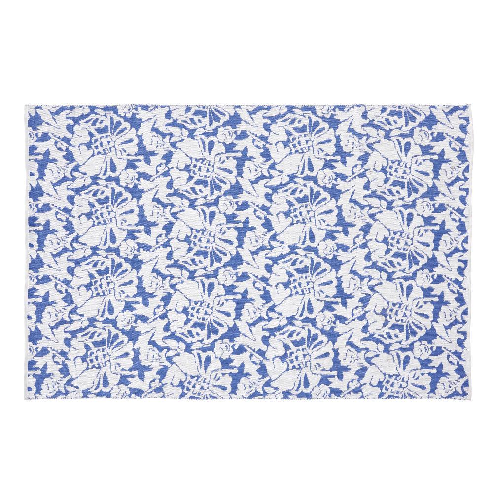 Tapis D'extérieur Bleu Imprimé Floral Blanc 160x230