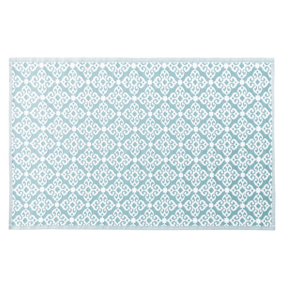 Tapis d'extérieur bleu motifs graphiques blancs 140x200