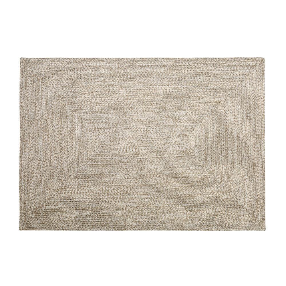 Tapis d'extérieur en polyester recyclé beige 140x200