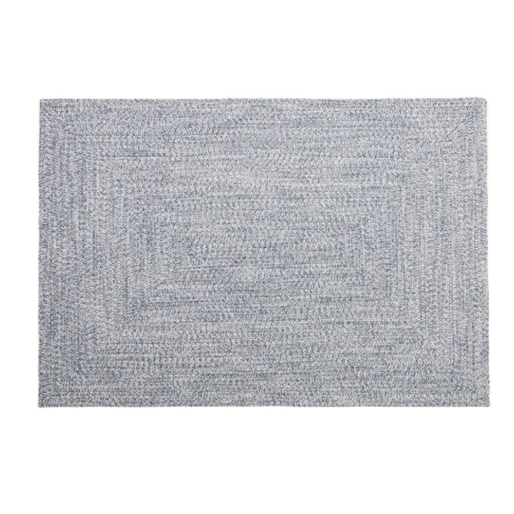 Tapis d'extérieur en polyester recyclé bleu 140x200