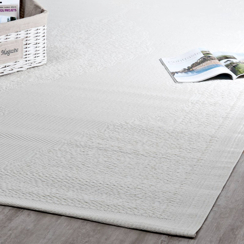 Tapis d'extérieur en polypropylène blanc 180x270