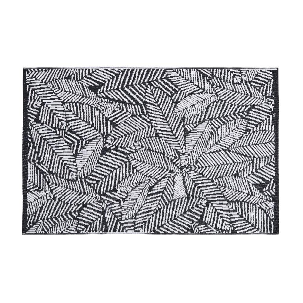 Tapis d'extérieur en polypropylène motifs feuilles graphiques noires et blanches120x180