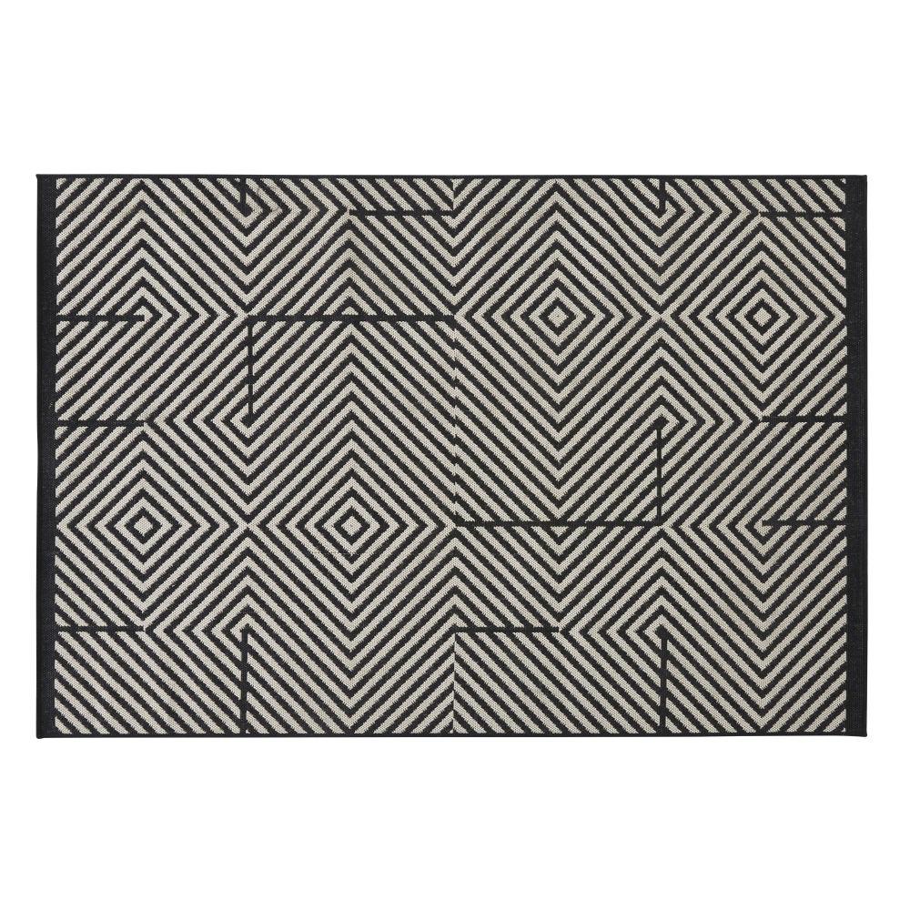 Tapis d'extérieur en polypropylène motifs graphiques noirs et blancs 120x180