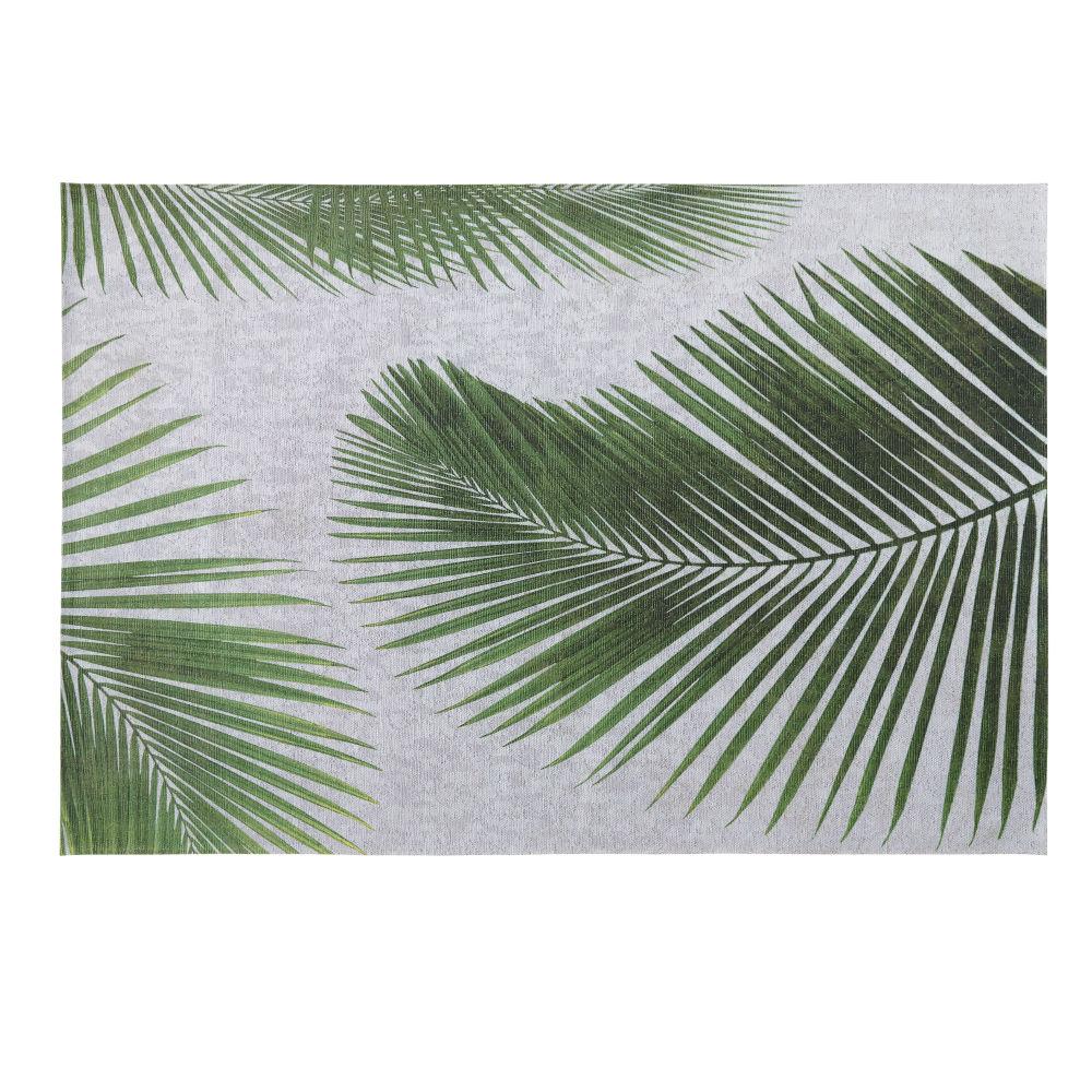 Tapis d'extérieur gris imprimé feuilles de palmier 155x230