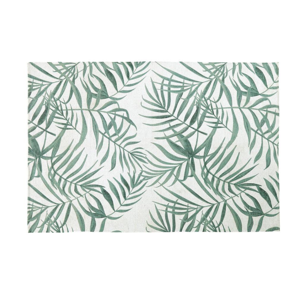 Tapis écru imprimé végétal vert 140x200