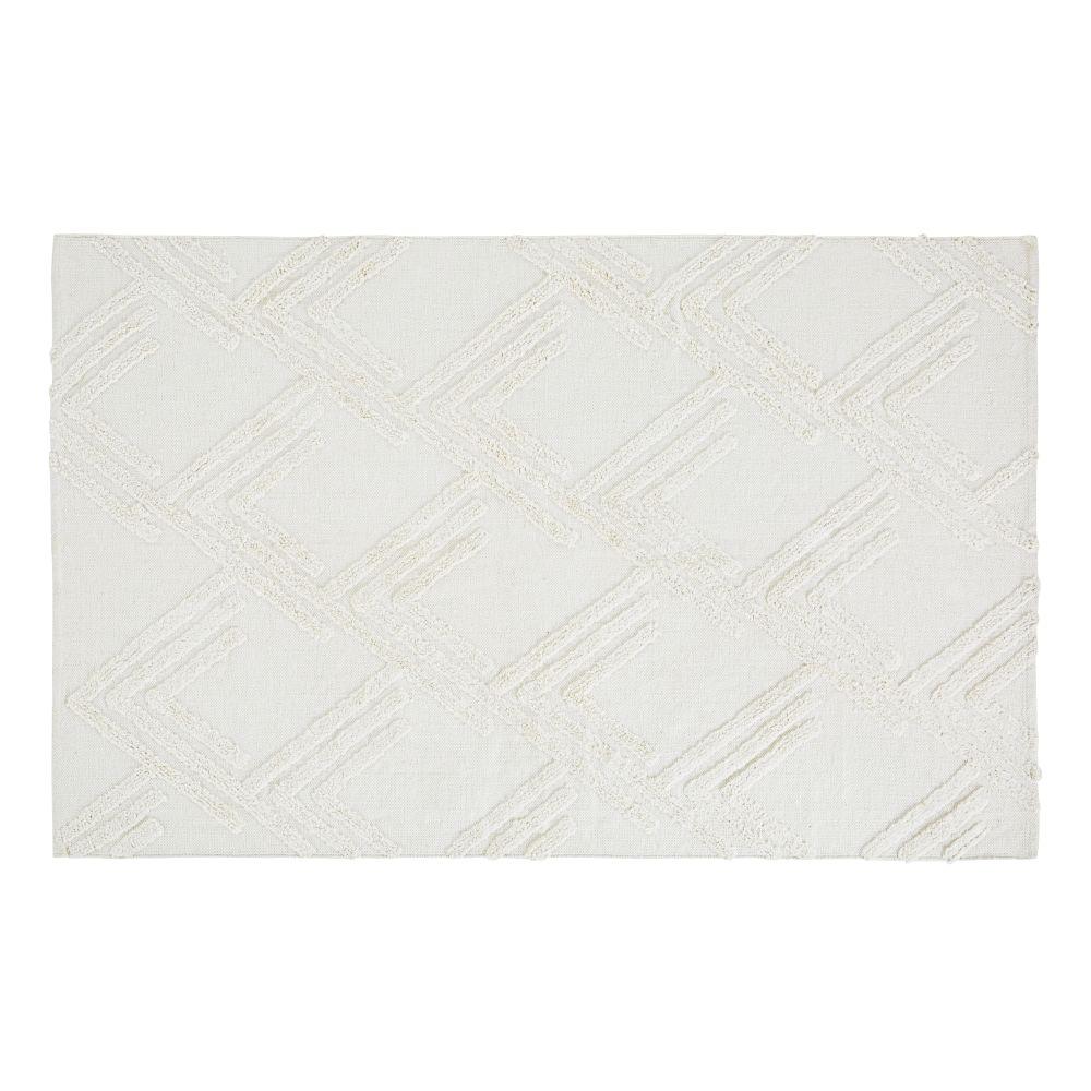 Tapis en coton blanc motifs en relief tuftés 120x180