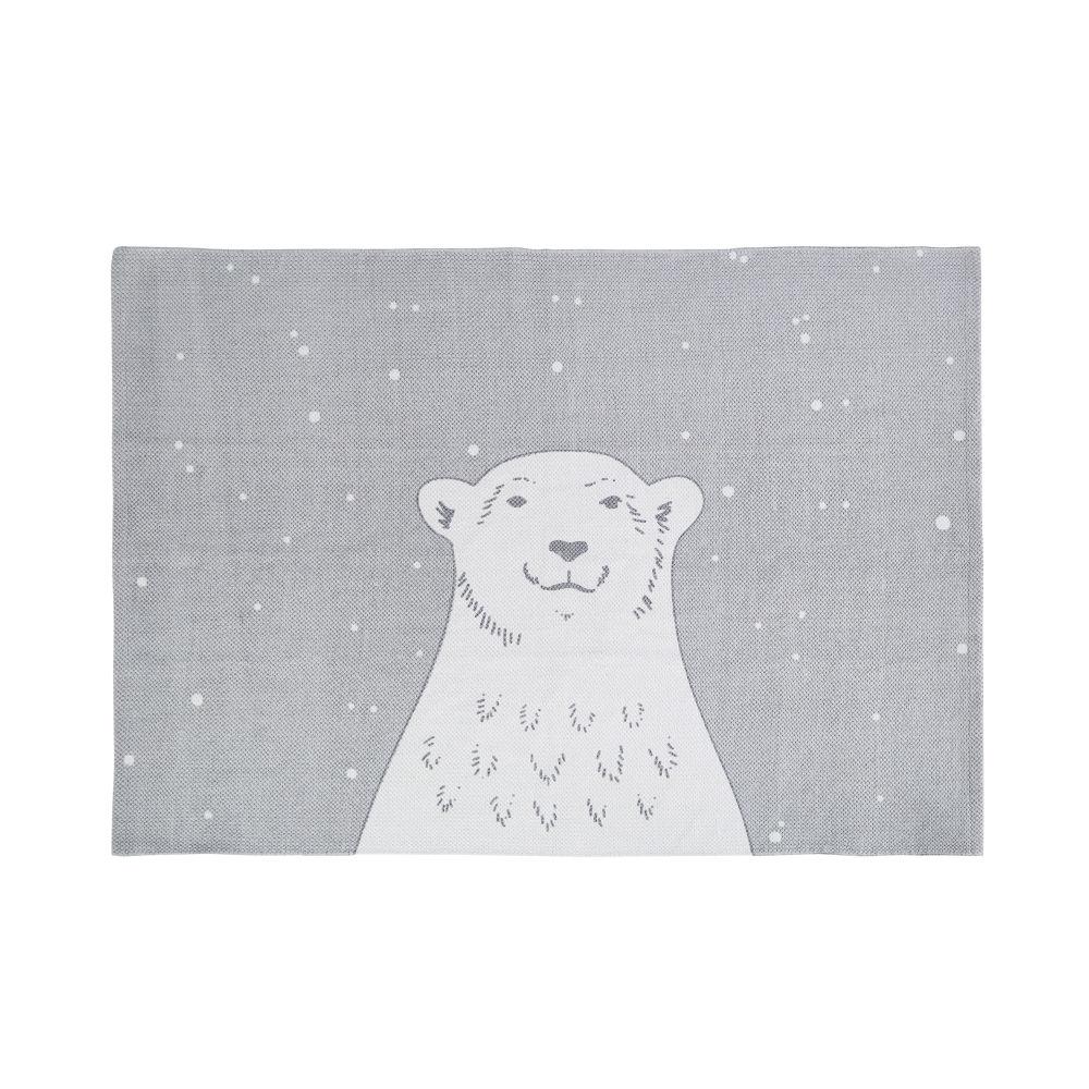 Tapis en coton bleu, gris et blanc imprimé ours 100x70