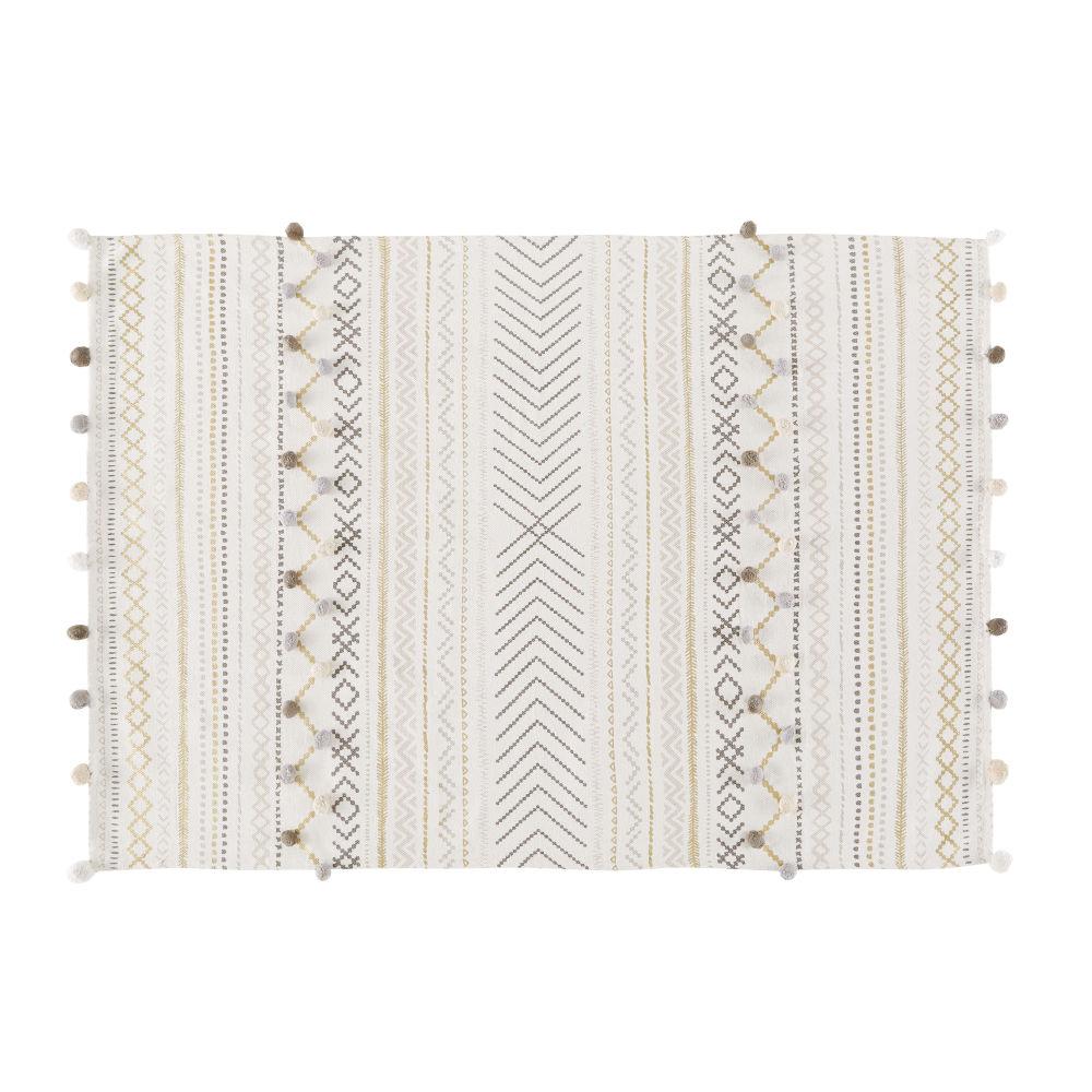 Tapis en coton écru motifs graphiques 120x180