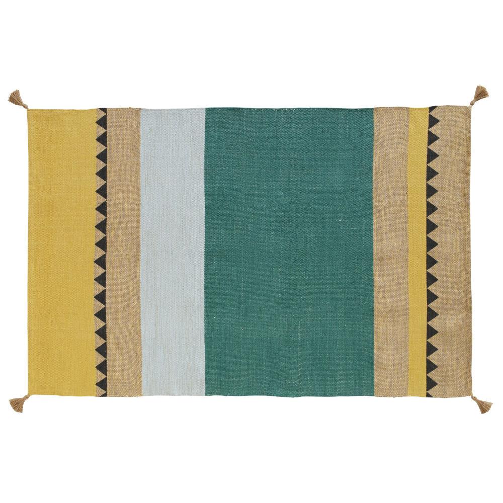 Tapis en coton et jute tissés imprimé bayadère à pompons 120x180