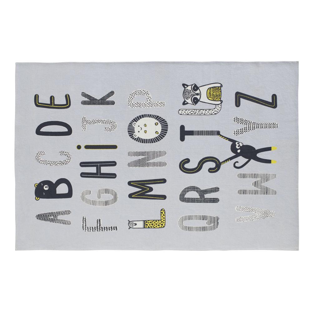 Tapis en coton gris imprimé alphabet 120x180