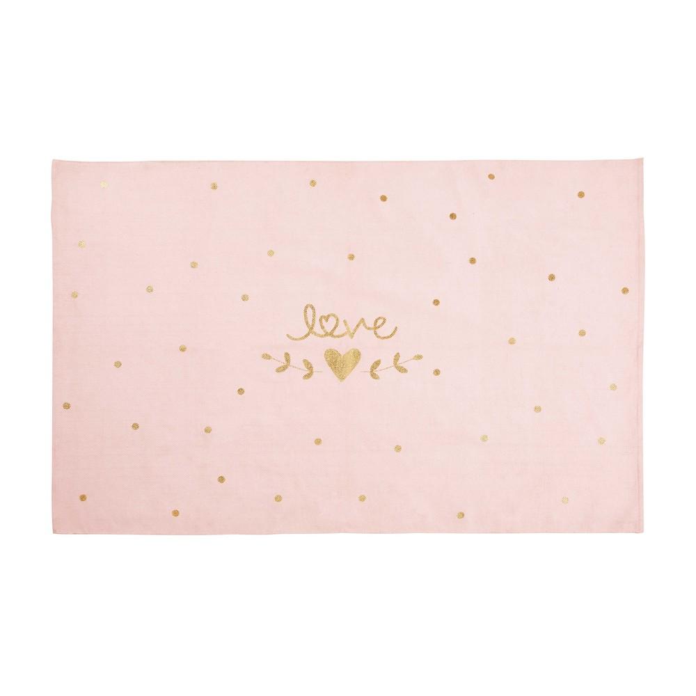 Tapis en coton imprimé rose et doré 120x180