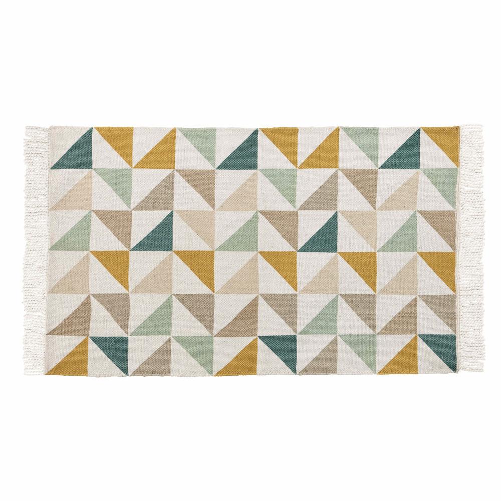 Tapis en coton motifs graphiques multicolores 60x100