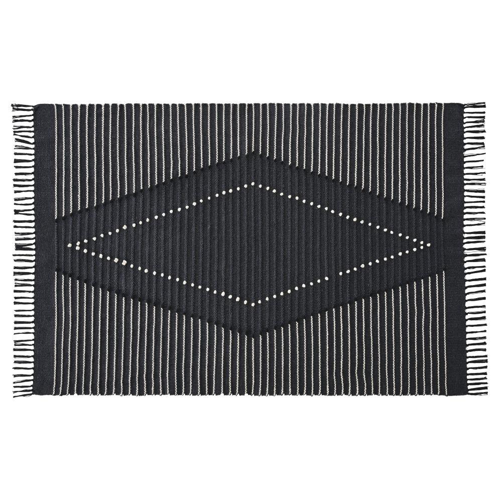 Tapis en coton recyclé tissé gris anthracite, noir et blanc 140x200