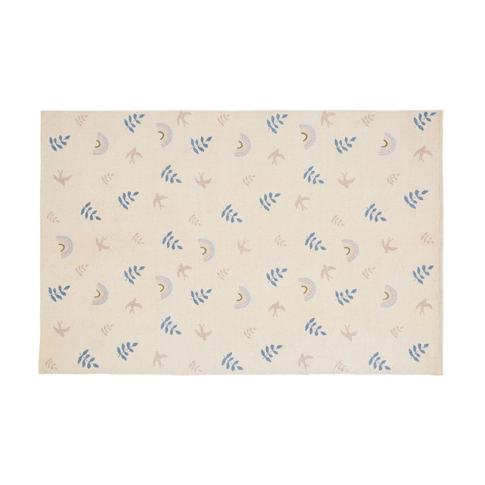 Tapis en coton rose, bleu et doré imprimé 120x180