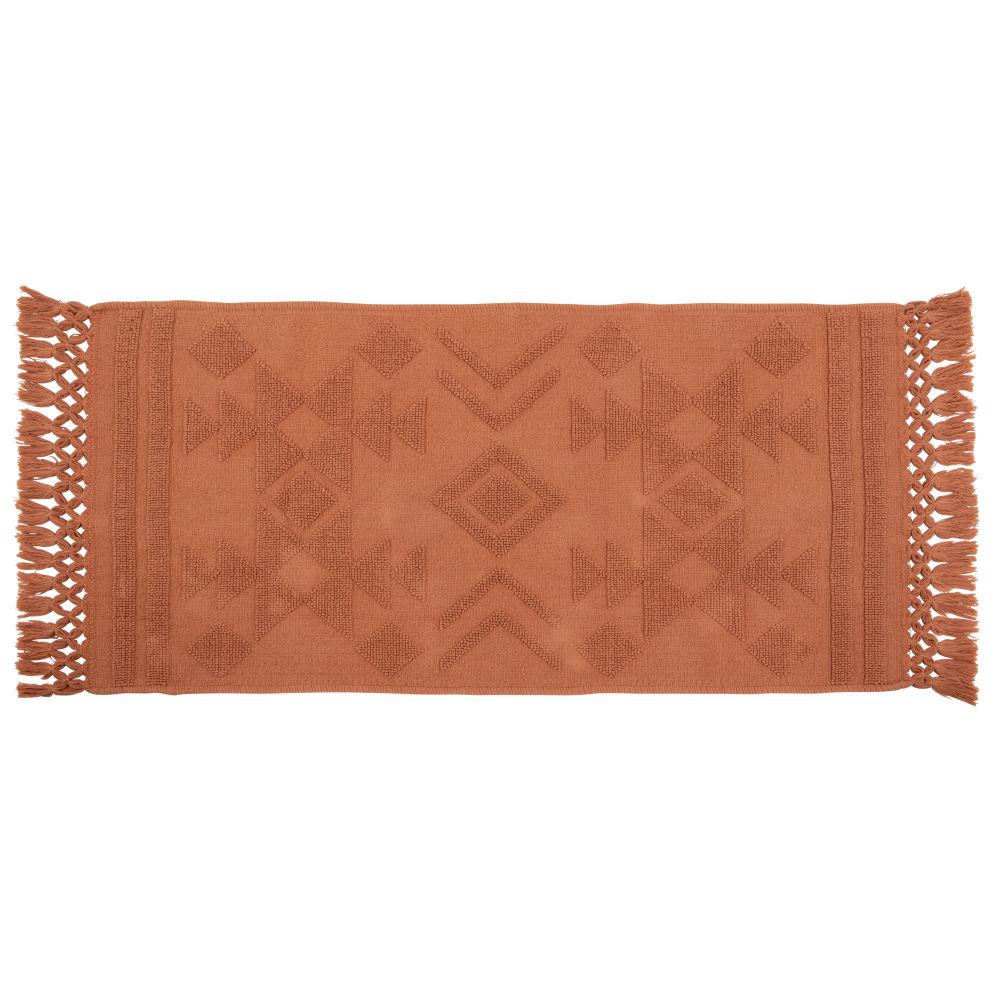 Tapis en coton terracotta à franges 60x120