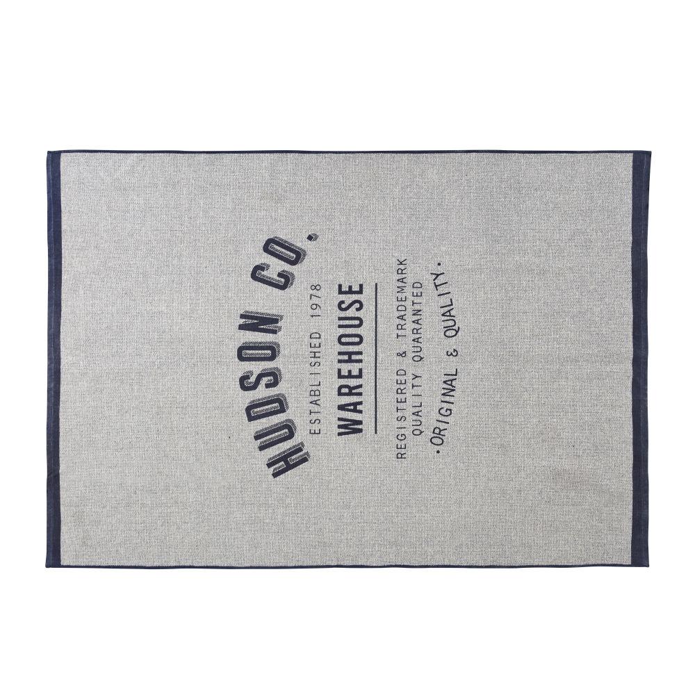 Tapis en coton tissé bleu et beige imprimé 140x200