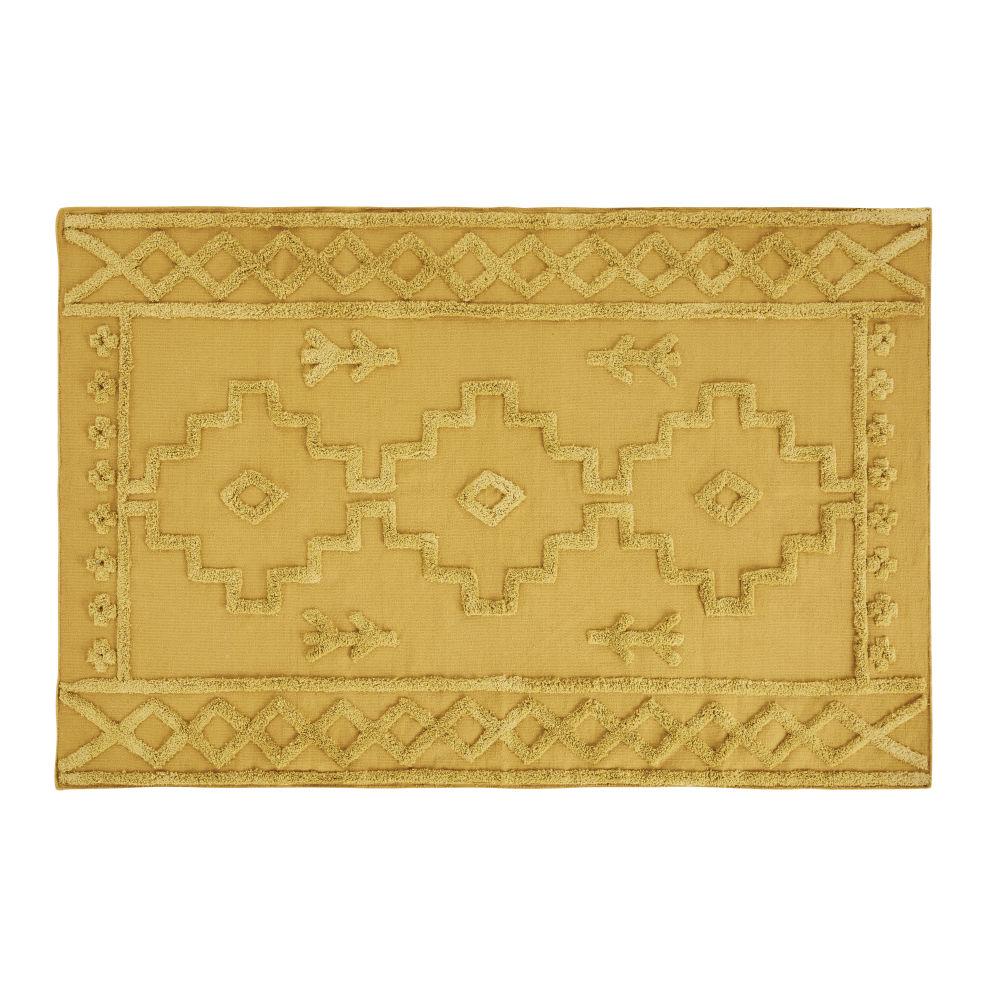 Tapis en coton tissé jaune moutarde avec dessins en relief 120x180