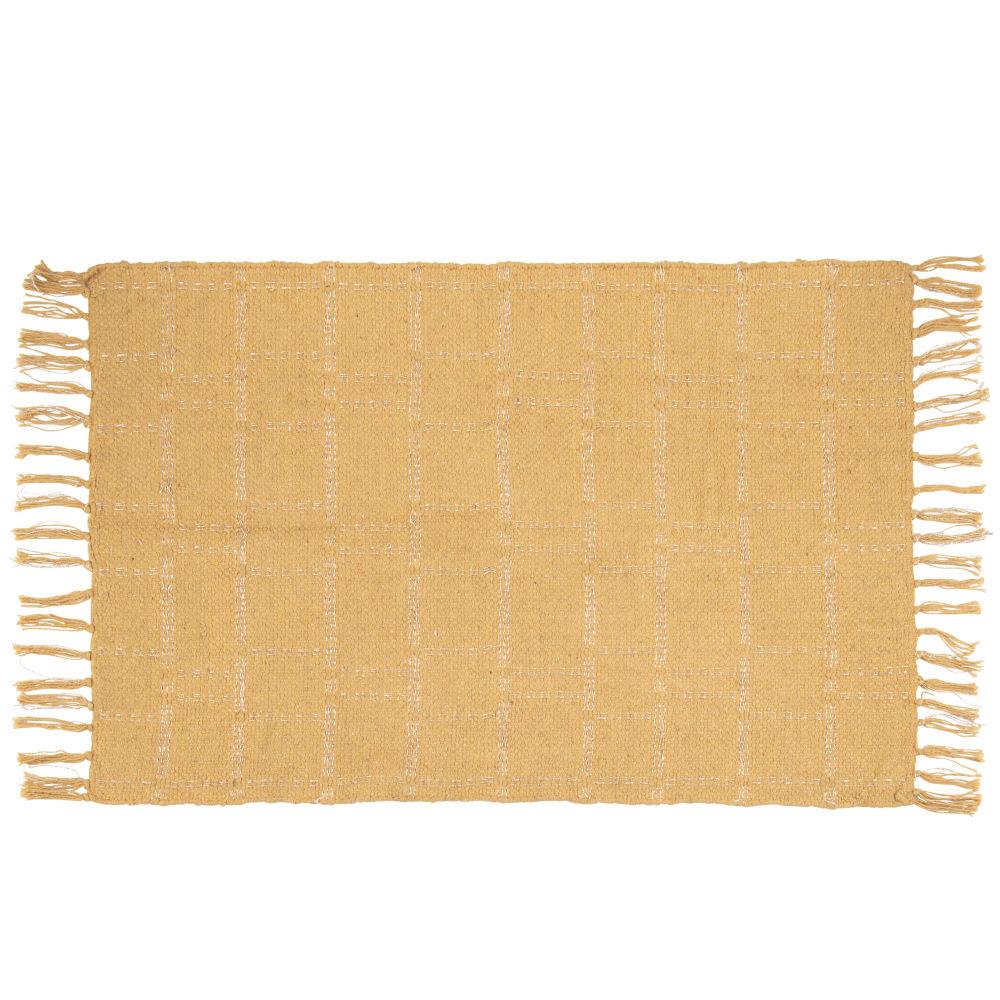 Tapis en coton tissé jaune moutarde et doré 60x90