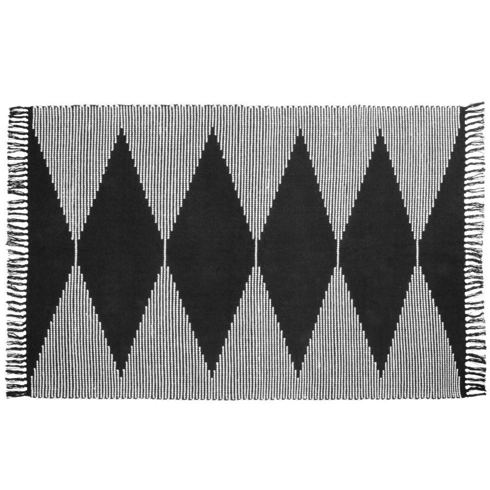 Tapis en coton tissé noir et blanc 120x180