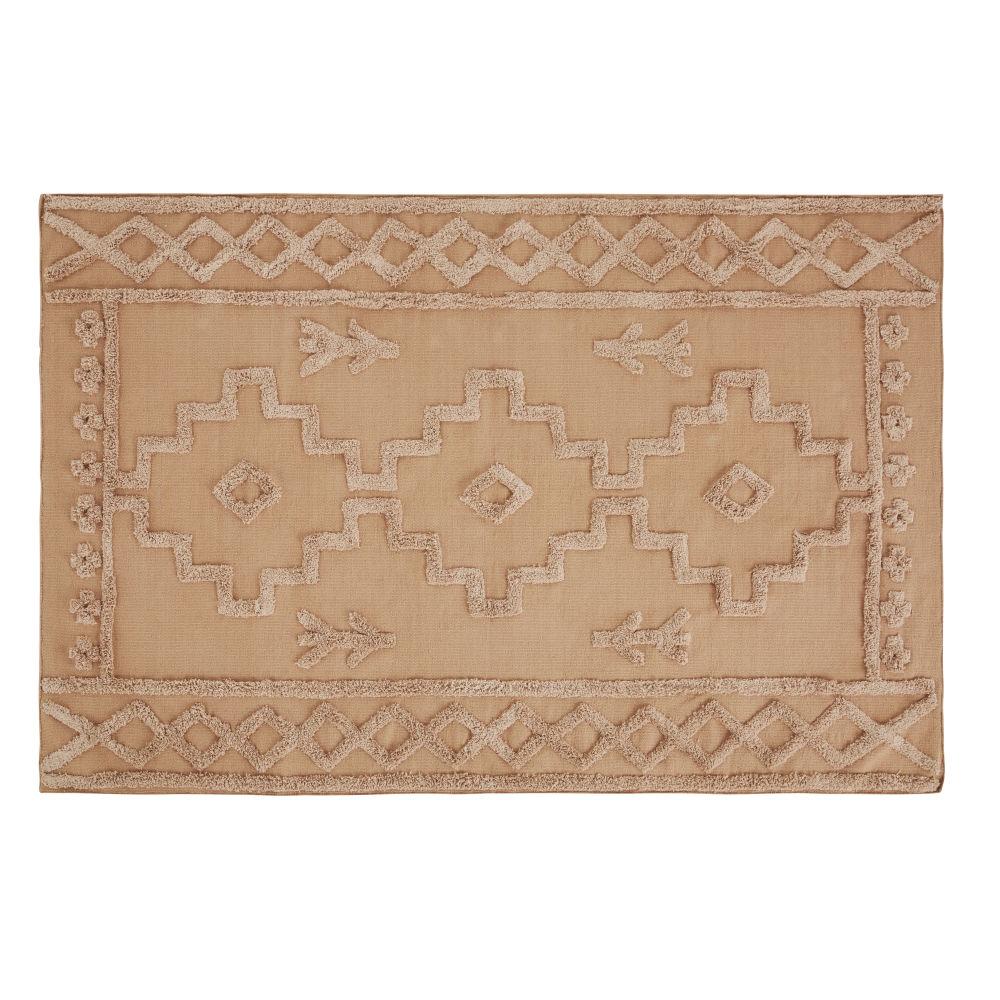 Tapis en coton tissé terracotta avec dessins en relief 120x180