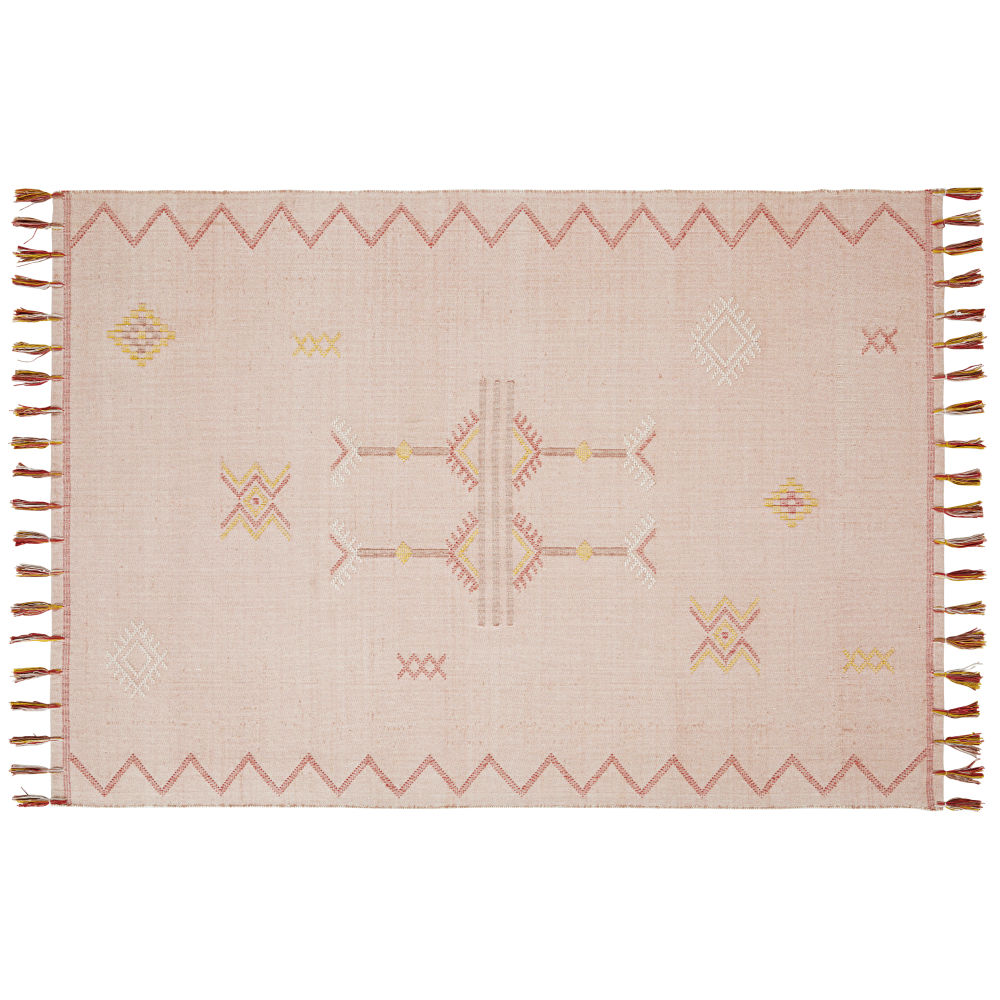 Tapis en coton tissé vieux rose avec franges 140x200