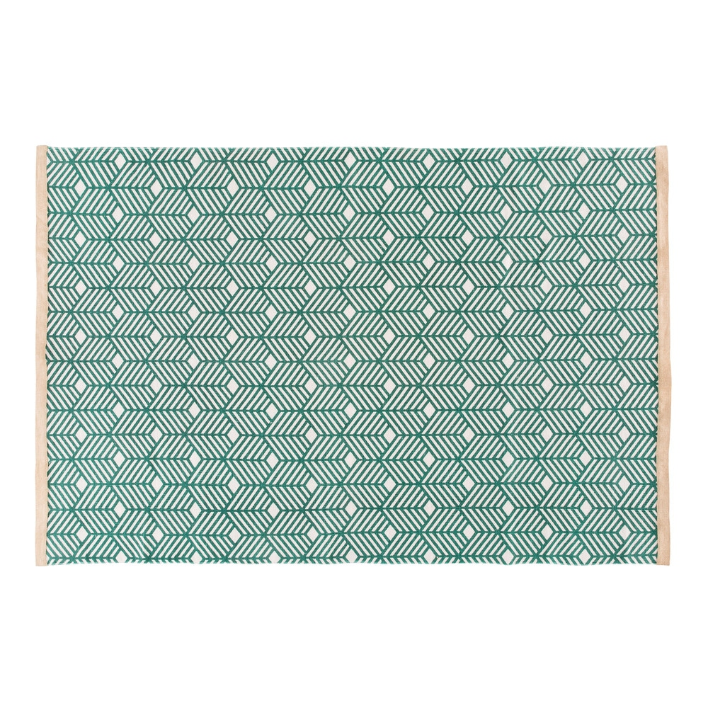 Tapis en coton vert motifs graphiques 140x200