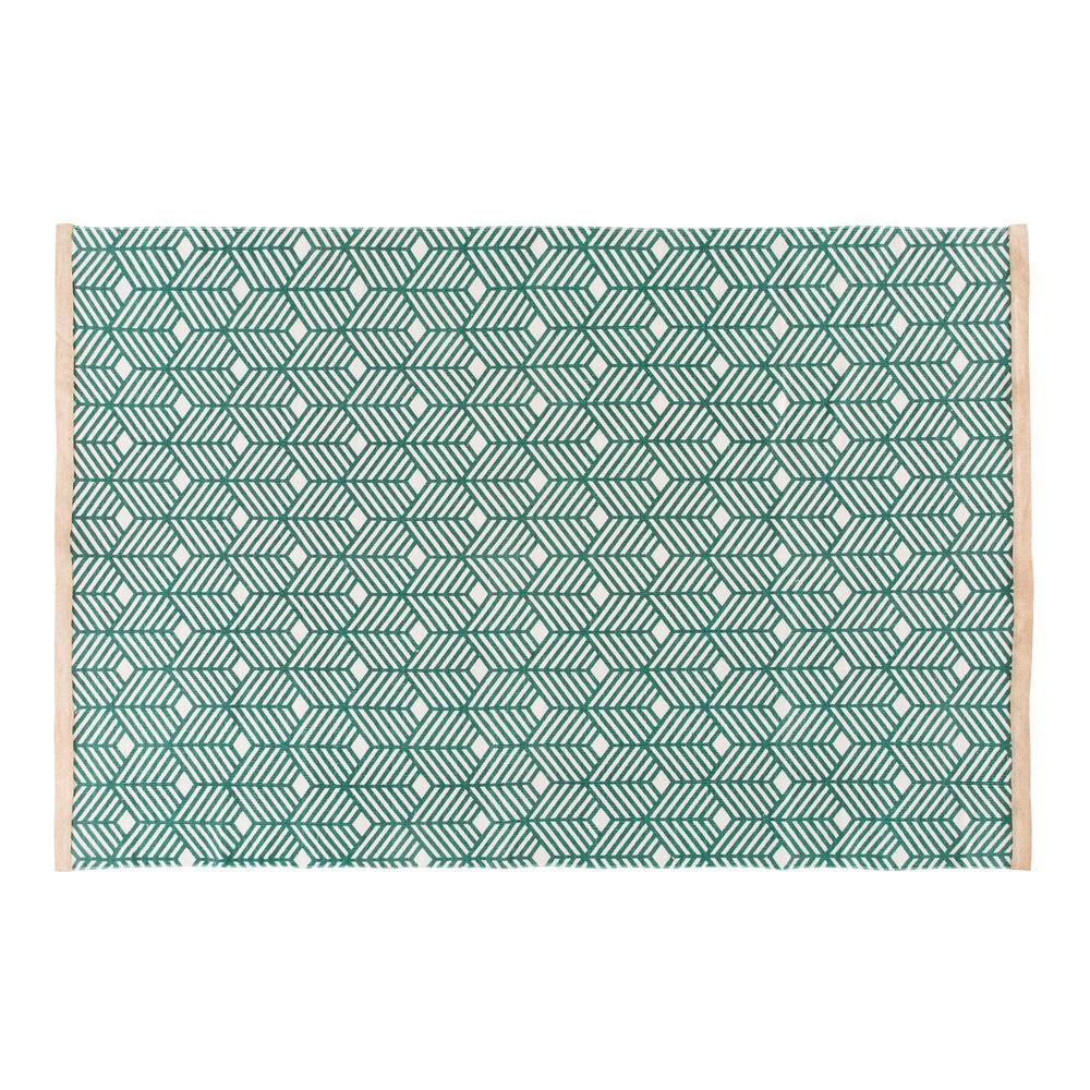 Tapis en coton vert motifs graphiques 160x230