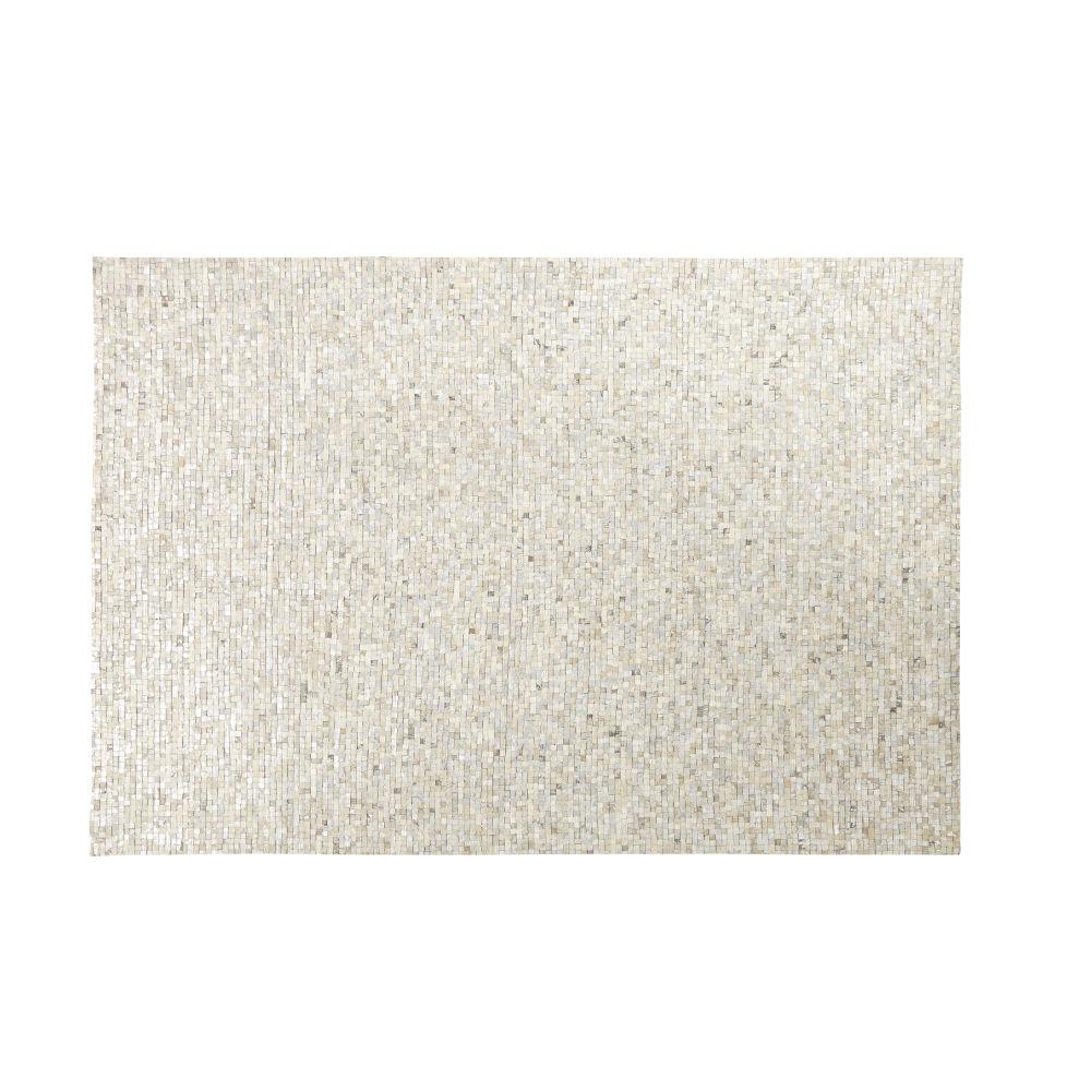 Tapis en cuir de vache argenté motifs graphiques 140x200