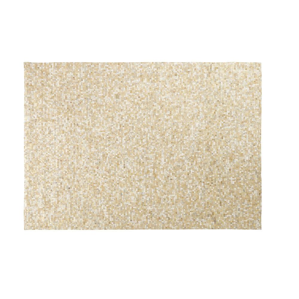 Tapis en cuir de vache écru et doré motifs graphiques 160x230