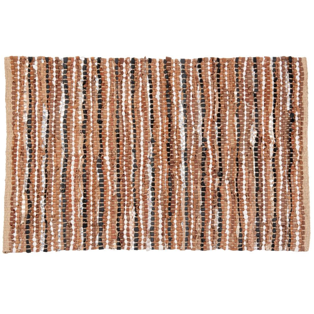 Tapis en cuir et coton tissé main noir, rouge, rose, beige et doré 60x90